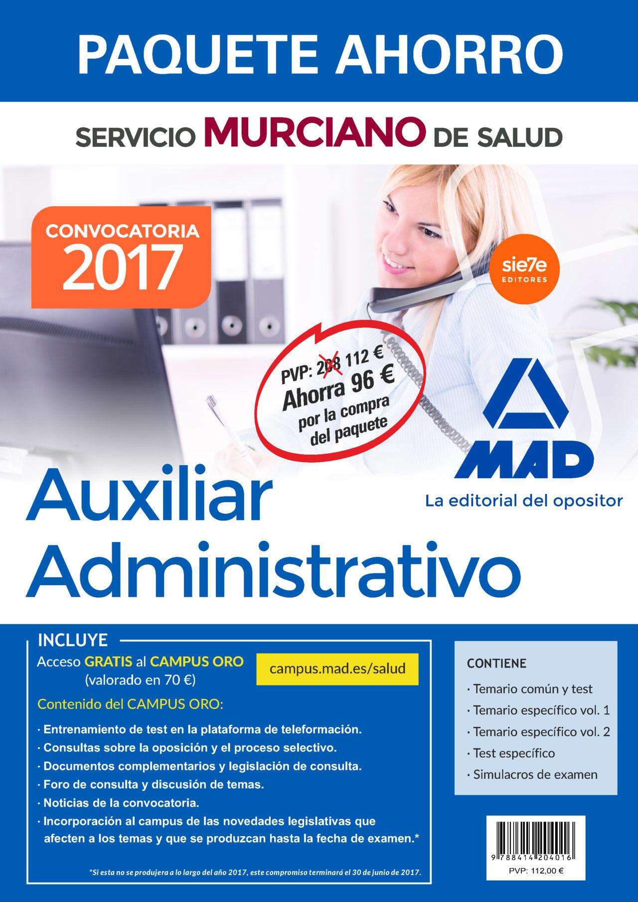 paquete ahorro auxiliar administrativo del servicio murciano de salud. (incluye temario parte general y test;-9788414204016