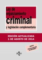ley de enjuiciamiento criminal y legislacion complementaria  (15ª ed.) 9788430962426
