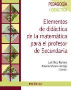 elementos de didactica de la matematica para el profesor de secundaria luis rico romero antonio moreno verdejo 9788436835366