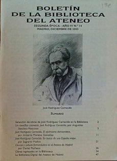 BOLETÍN DE LA BIBLIOTECA DEL ATENEO. JOSÉ RODRÍGUEZ CARRACIDO - VARIOS | Adahalicante.org